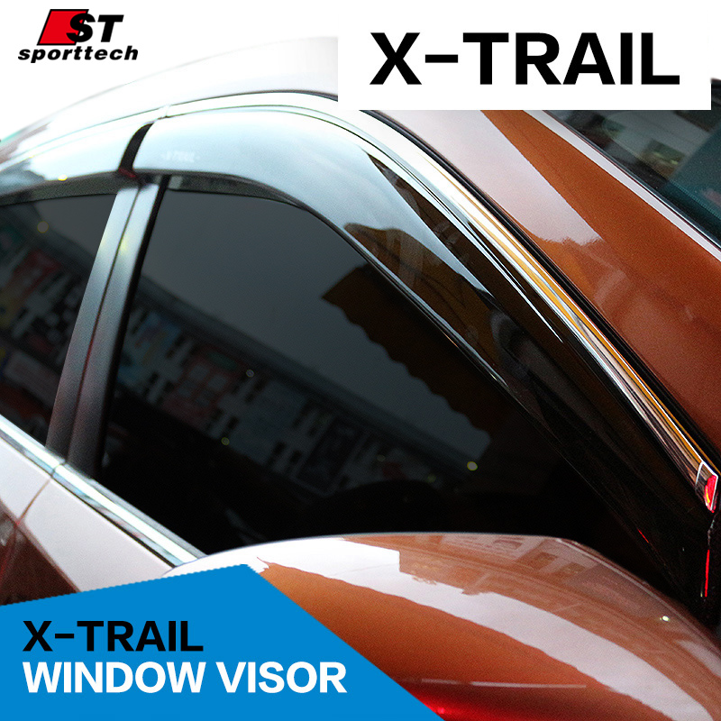Smoke Window Visor cover trim Vent Shade Rain/Sun/Wind Guard car styling for NISSAN X-TRAIL Rogue 2017-2017 Awnings Shelters
