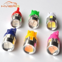 10Pcs T10 W5W Interior Xenon 5630 6SMD White blue red blue yellow Lens Projector Solid Aluminum Bulbs Side Marker Parking Light
