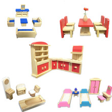 New Arrival Total 5 Set Furniture! Baby Toys 35Pieces Of Furniture Combination Game Wooden Toys Child Education Birthday Gift(China (Mainland))