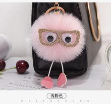Bonito Coruja Chaveiro Bola De Pêlo De Coelho Faux Mulheres Fluffy Animal Coelho Pompom Pingente Chave Anéis Saco Chave Titular Encantos AccessorieK1675(China)