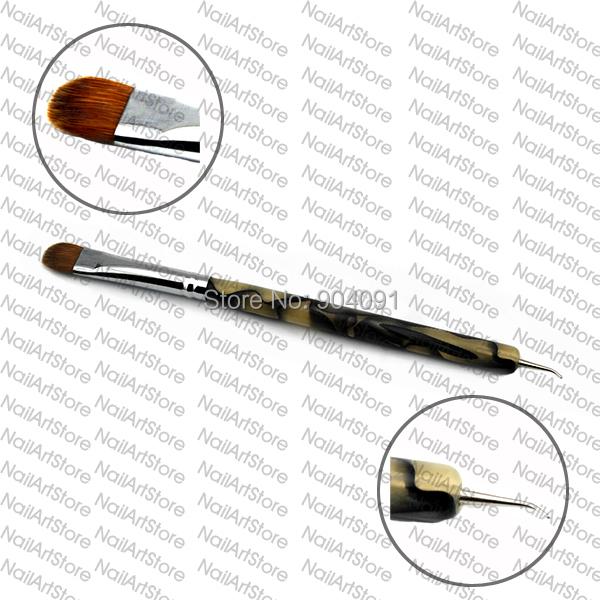 HOT 100% Kolinsky French Sable Brush 2 way Acrylic UV Gel Nail Art Builder Brush Pen Set nail art brush BEND nail dotting pen(China (Mainland))