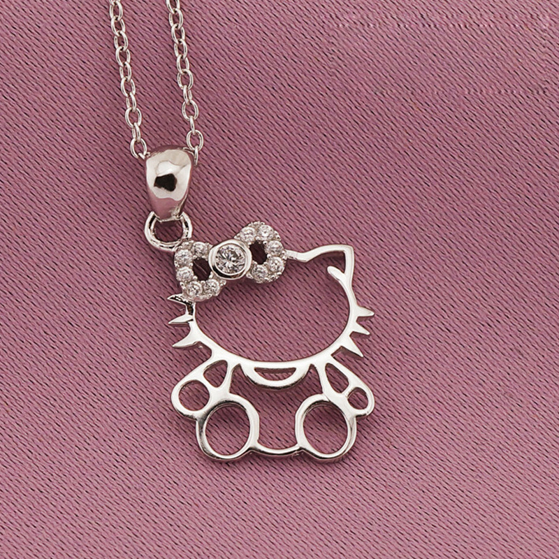 Solid 925 Sterling Silver Micro Paving White Crystal Cute Hello Kitty Cat Pendant Necklaces For Young Women Girls Birthday Gifts(China (Mainland))