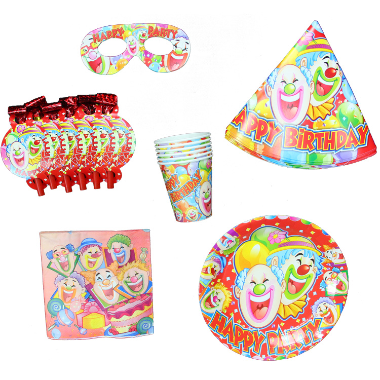 tableware Birthday party supplies clown paper tableware(paper plates ...