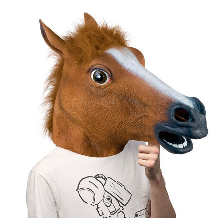 Novelty Creepy Horse Halloween Head latex Rubber Costume Theater Prop Party Mask Offering Discounts Rubber Mask 22(China (Mainland))