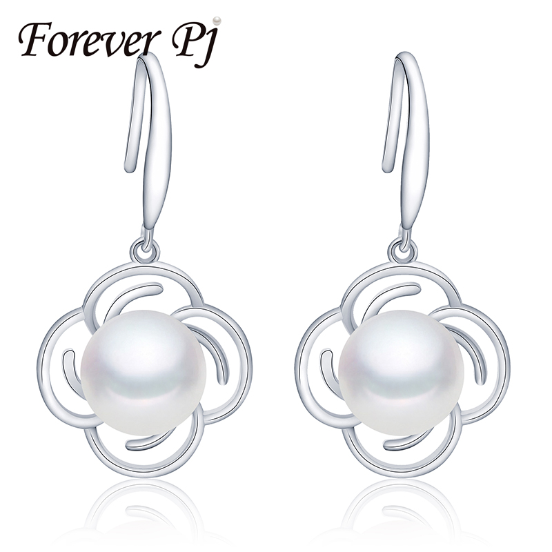 FOREVER 925 sterling silver earrings for women flower real freshwater cultured pearl jewelry dangle earrings for girlfriend gift(China (Mainland))