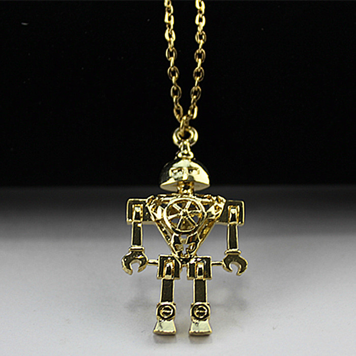 2015 Europe and the United States to restore ancient ways jewelry wholesale gold alloy robot pendant necklace Free Shipping(China (Mainland))