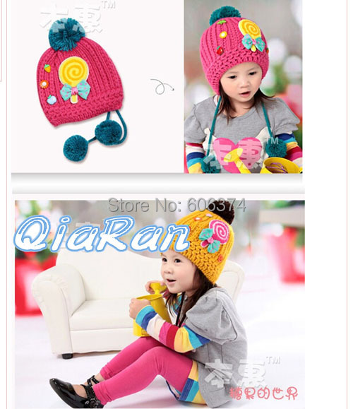 New Design Children Crochet Hat Kids Winter Fashion Cartoon Caps Baby Candy and Bowknot Velvet Warm Beanie with Big Ball(China (Mainland))