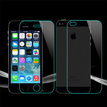 2 PCS/Lot = Front+Back 0.2mm Explosion-Proof Tempered Glass Screen Protector Film for iPhone 4 4S 4G 5 5S SE 5G 6 6S 6G 7 Plus
