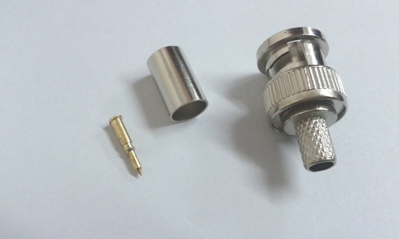 100PCS Crimp on BNC Male RG59 Coax Coaxial adapter For CCTV camera connector(China (Mainland))