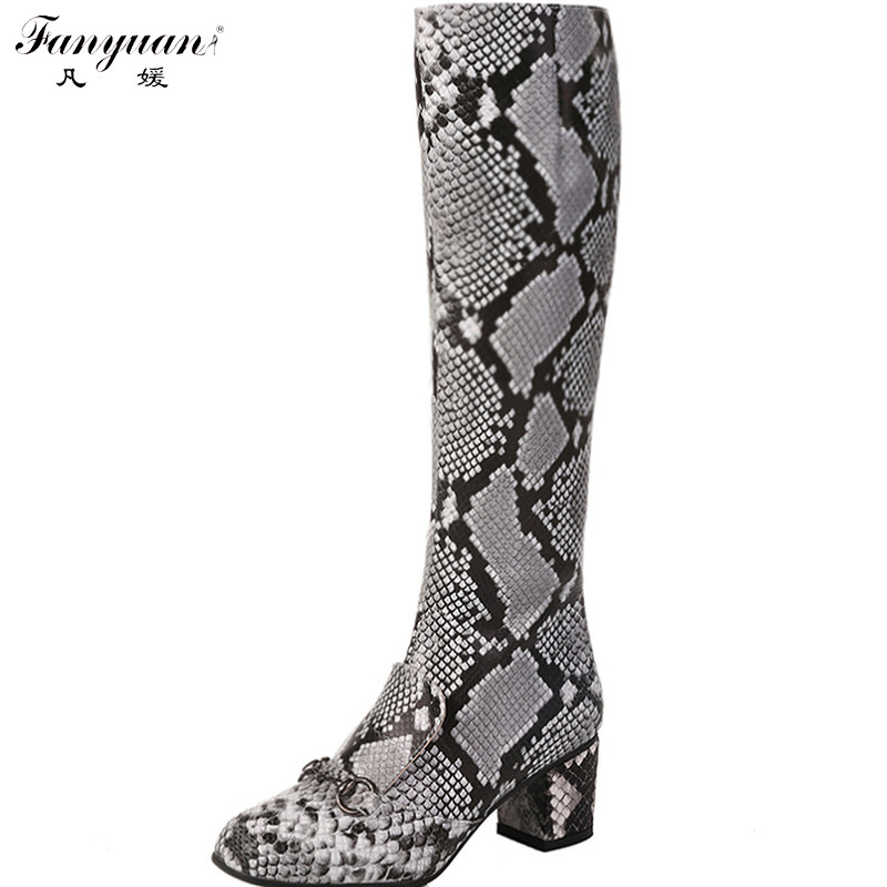 New 2017 Autumn Snake Print Women Mid-Calf Fashion Boots Side Zip Square Heel Animal Print Boots Lady Square Toe Mid-Calf Boots(China (Mainland))