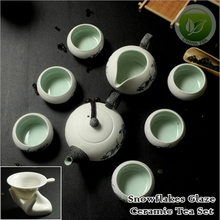 9pcs China Pottery Snowflakes Glaze Tea Set,Chinese Porcelain Tea Service,1*Tea Pot,1*Justice Cup,6*Teacups,1*Strainer XH001-2