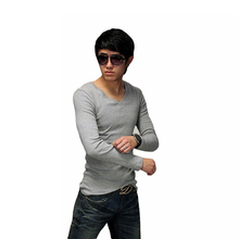 Spring and Autumn New Fashion Men V-Neck Long Sleeve Bottoming T Shirt Knitted Slim T-shirt Boy 's Tops Camisa 3 sizes(China (Mainland))