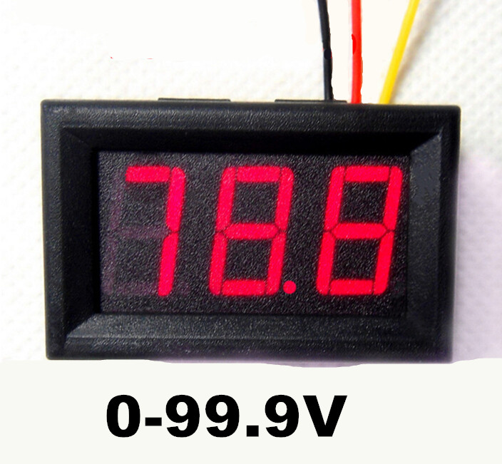 "Hot sale DC 0-100V 0.56"" Digital Car Motor Motorcycle voltmeter Voltage Meter 3 Bits LED red display with three wires 59%off(China (Mainland))"