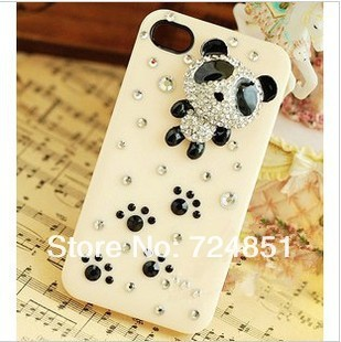 New style!!Free Shipping! 10pcs/lot DIY material bag fashion The lovely panda 3D shape mobile phone shell