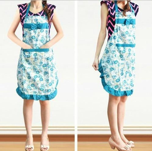 4 Colors Available Korea Style Kitchen Livelihood Flowers Pattern Butterfly Knot Dacron Apron(China (Mainland))