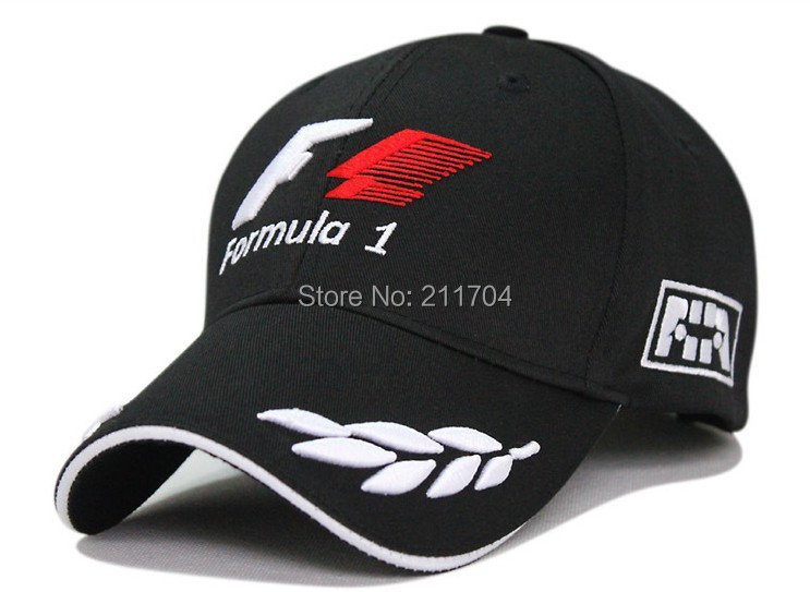 2014 new black F1 racing team hat embroideried letters wheat f1 formula one team golf cap baseball cap(China (Mainland))