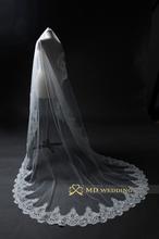 Hot 3 m foto reali bianco/avorio cattedrale lunghezza pizzo mantiglia crochet velo da sposa copricapo con pettine accessori da sposa MD3079(China (Mainland))