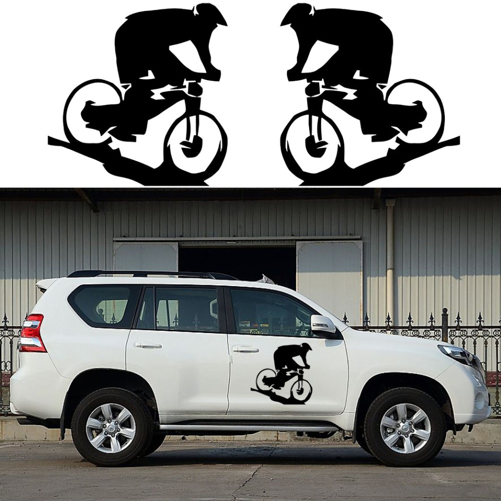 2x Mountain Biker Graphics (one for each side) Camper Van Graphics Motor Home Vinyl Graphics Kit Decals SUV Truck Car Stickers(China (Mainland))