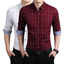 New 2015 Men's Shirts Casual brand Dress slim fit designer Plaid Shirts man Fashion Clothing