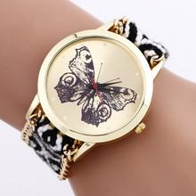 2015 nuevo estilo de la mariposa pulsera de cuerda trenzada relojes de ginebra hecho a mano la amistad relojes de cuarzo mujeres