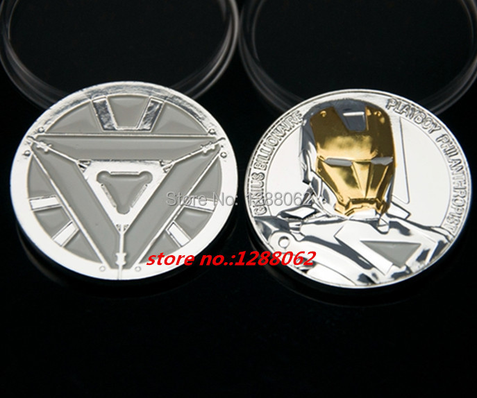 The Hollywood movie The Avengers Iron Man Challenger gold and silver plated souvenir Coins,5 pcs/lot. free shipping(China (Mainland))