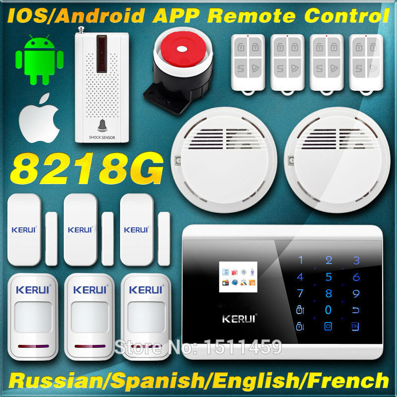 produto KERUI English/France/Spanish/Russian Wireless Touch Keypad LCD Display GSM PSTN Home Secure Voice Alarm ios/Android app control