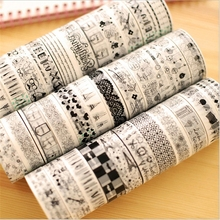 10 Rolls/Lots  Mixed 1.5cm x 10m Floral Fabric Masking Washi Tape Plastic Checks Decoration Sticky Tape DIY Tape Stickers