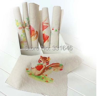Rabbit 6pcs/lot 20*20cm Hand Dyed Cotton Linen Fabric Diy Bag Accessory Craft Sewing Baby Cloth Scrapbooking Patchwork Fabric(China (Mainland))