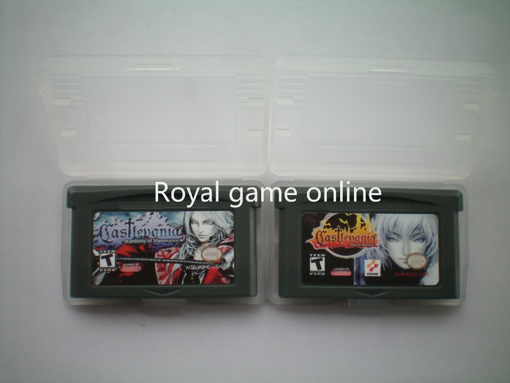 product Classic game: HOT SALE VIDEO GAME CARD: Castevania harmonia of Dissonance and Castlevania Aria of Sorrow