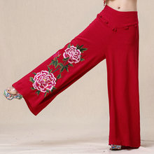 New Summer National Wind Embroidered Linen Wide Leg Pants Solid Color Big Peony Women Elastic Wait Long Trousers M0733(China (Mainland))