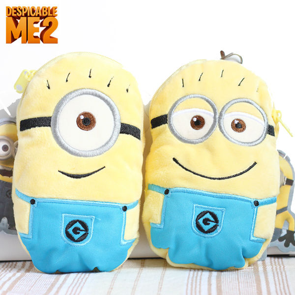 Hot Sale Despicable me 2 Milk Small Capsules Plush Cell Phone Bag Pocket Card Case Cartoon Coin Purse Wallets Wholesale/Retail(China (Mainland))