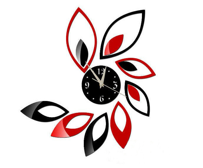 Home-decorations-Leaves-decorative-mirrored-wall-clock ...
