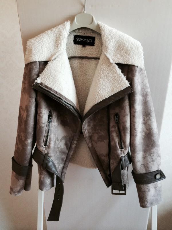 2015 autumn winter women's thicken warm fleece lining turn collar motorcycle jacket vintage faux fur leather coat