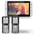 FREE SHIPPING New Wired 7 TFT LCD White Screen Video DoorPhone Intercom System With 2 Waterproof