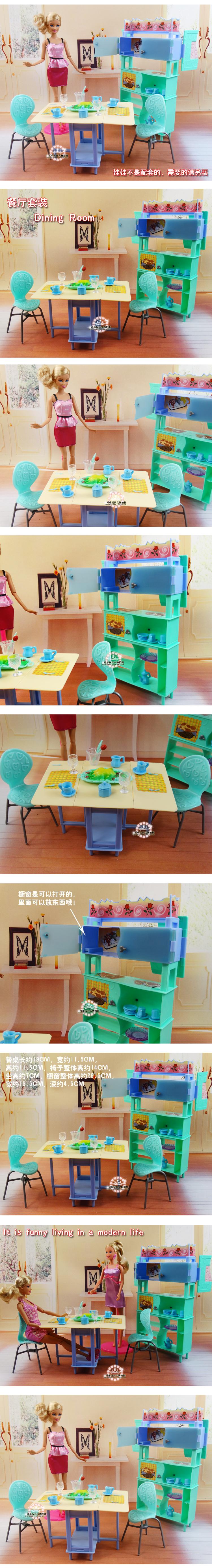 For barbie Kelly Ken Doll Inexperienced Eating Desk Showcase Set / Dollhouse Eating Room Furnishings Cup Chair Equipment Ladies Reward
