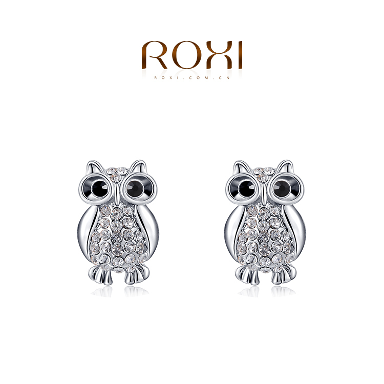 2015 ROXI fashion girls silver Owl earrings ,earrings for elegant women party,Nickeless,wholesale,Christmas/birthday gifts(China (Mainland))