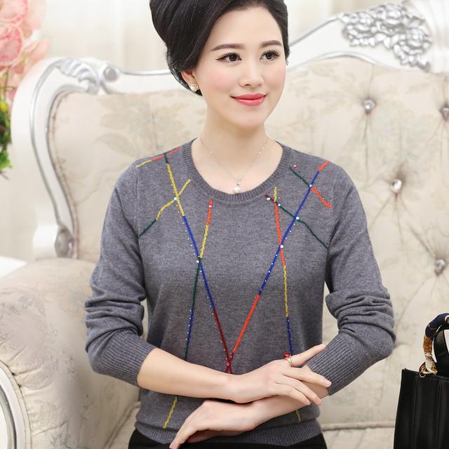 Новый 2016 женщин среднего возраста весна широкий свитера хеджирования пуловер свитер ...