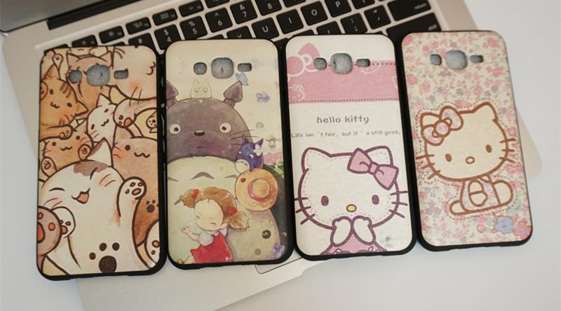 Fashion Luxury Hello Kitty For Samsung Galaxy J3 Case Cute cat My Neighbor Totoro Back Cover celular Phone Protect Bag Shell(China (Mainland))