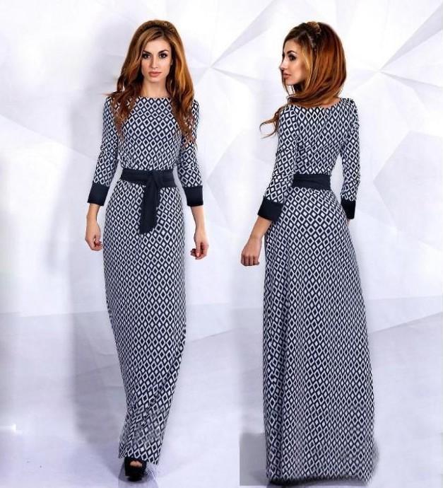 Women Spring Dress Printed Long Sleeve O-Neck Dress 2016 New Diamond Checkered Casual Dress(China (Mainland))
