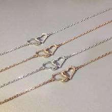Solid 18K 750 Rose/White/Yellow Gold Heart Shape Real Diamonds Bracelet For Women(China (Mainland))