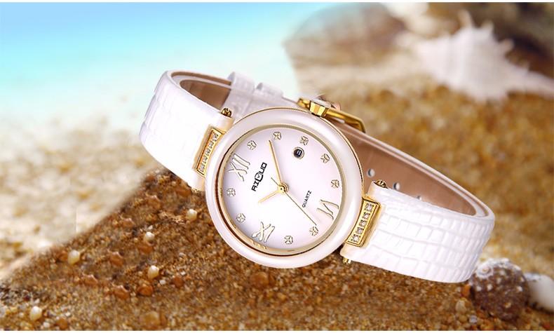 Марка Роскошные Мода Повседневная и Платье Часы Женщины Кварцевые Часы Pearl Керамические Часы Дамы Алмаз Кожаный Ремешок Наручные Часы