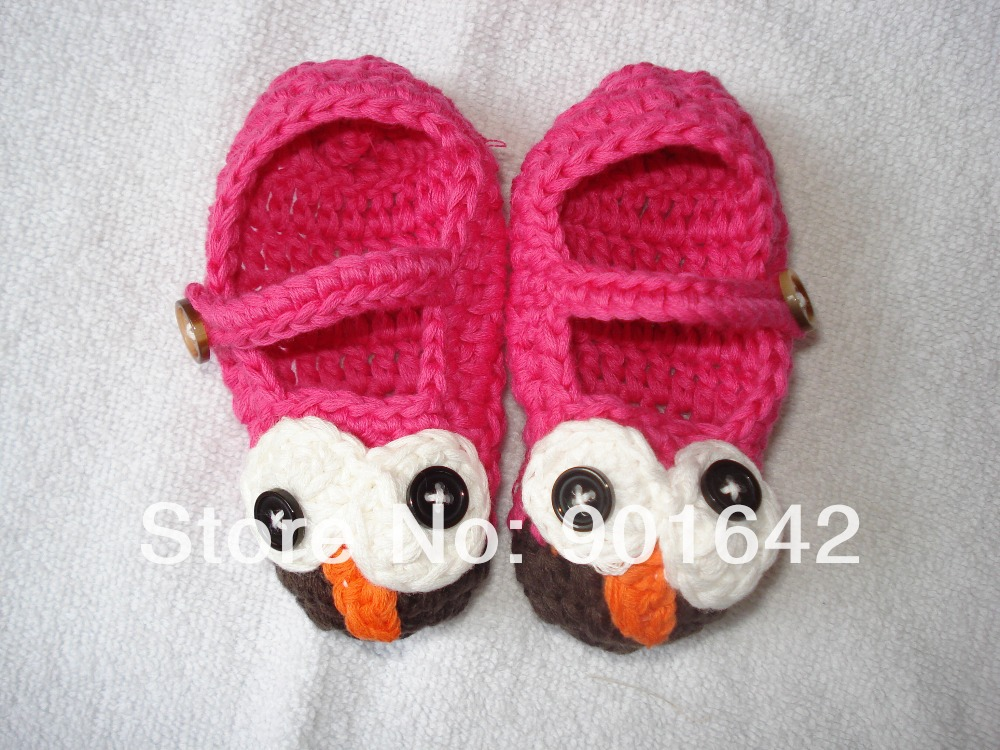 1 Pair Retail Crochet Baby Booties Patterns, Baby Rose Pink Owl Sandas Baby Owl Shoes Free Shipping(China (Mainland))
