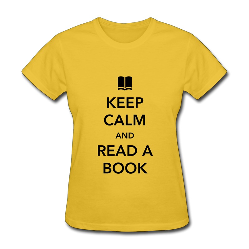 Short sleeve t shirt women 39 s keep calm and read a book for Books printed on t shirts