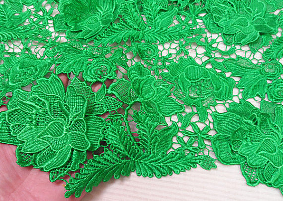 green lace fabric, crochet lace, venise lace fabric with 3D floral