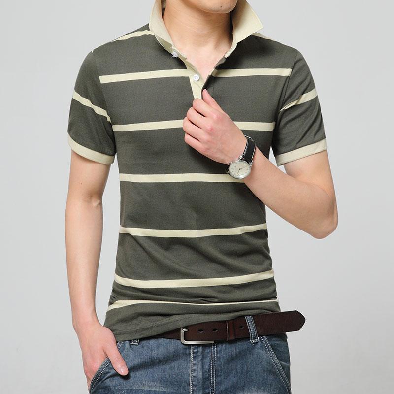 High quality brand Korean version men polo shirt new summer casual striped cotton short-sleeved men's polo solid polo shirt men(China (Mainland))