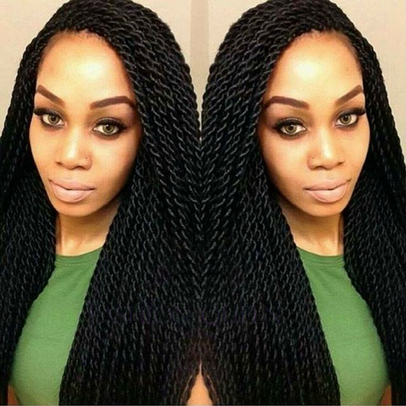 High Quality Heat Resistant black Braiding Kanekalon Hair Wigs Synthetic Lace Front Wig Braided Lace Front Wigs For Black Woman<br><br>Aliexpress