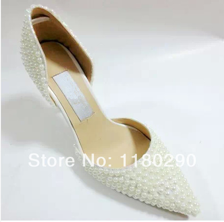 free shipping new fashion elegant pointed toe high heels pearl shoes women wedding pumps white<br><br>Aliexpress