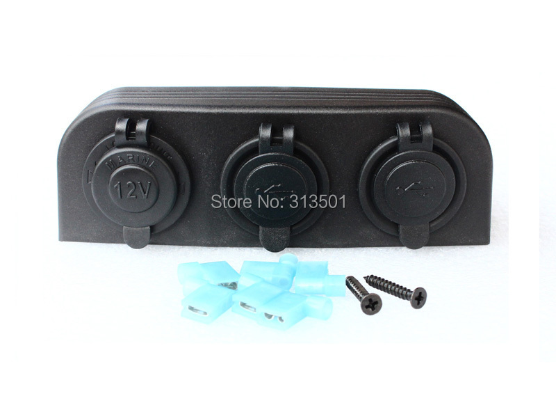 Good Quality Marine Car Accessories Rv DC 12V Power Outlet Socket + Two Dual USB Charge Socket Three hole Tent Waterproof(China (Mainland))