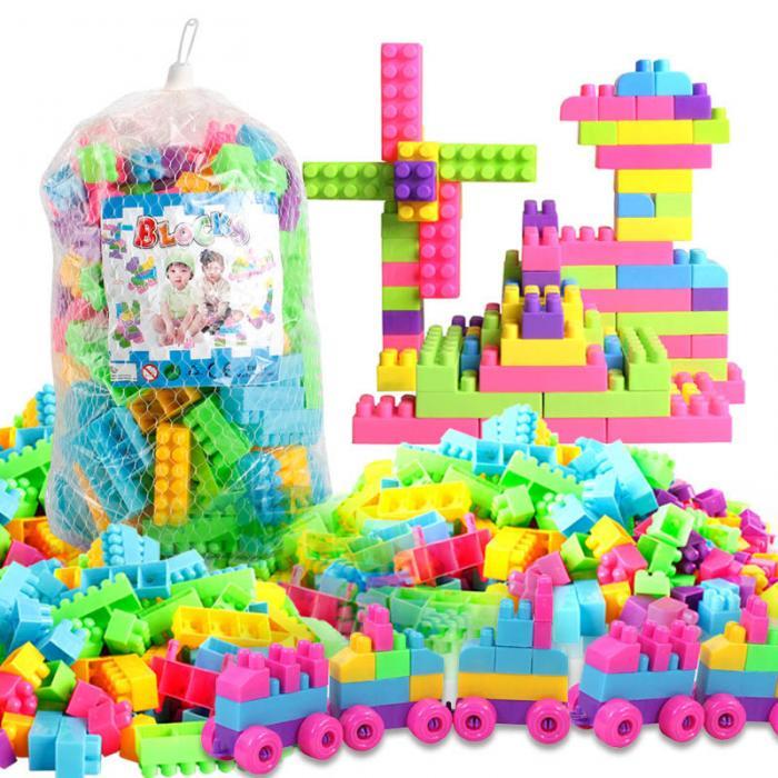 80Pcs Plastic Kid Children Puzzle Educational Building Blocks Bricks Toy