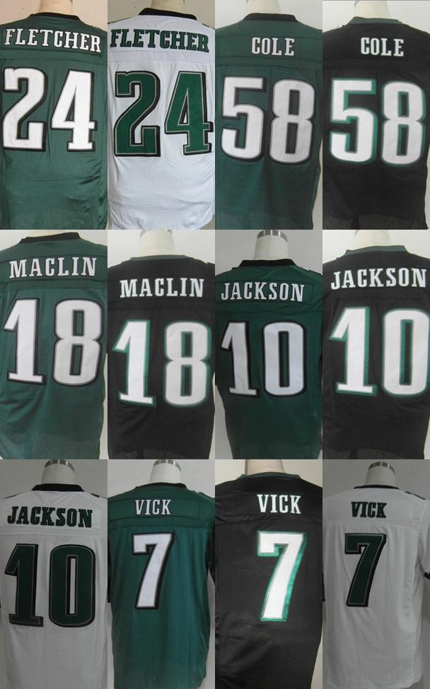 7 Vick Jersey 10 Jackson 58 Trent Cole Jersey,Elite Football Jersey,Best quality,Authentic Jersey,Size M-XXXL,Accept Mix Order(China (Mainland))